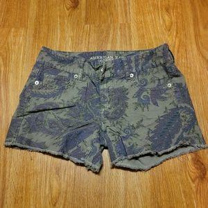 American eagle stretch corduroy paisley shorts